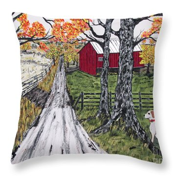 Sadie The Farm Dog Throw Pillow