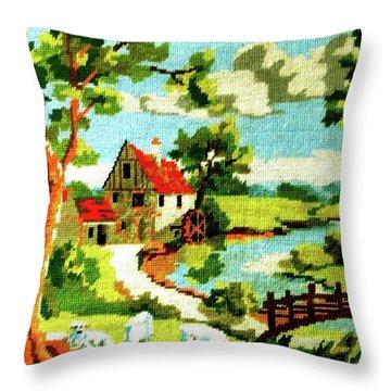 The Farm House Throw Pillow by Farah Faizal