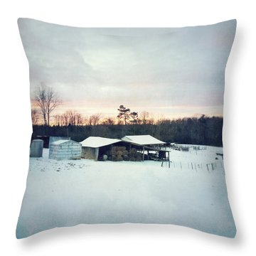 The Farm In Snow At Sunset Throw Pillow