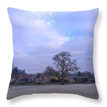 The Farm In Winter Throw Pillow