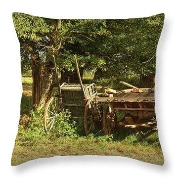 The Farmers Carts Throw Pillow