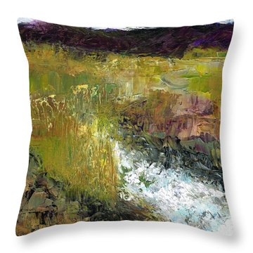 Throw Pillow featuring the painting The Farmers Ditch Fall by Frances Marino