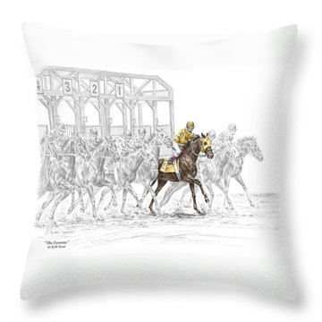 Throw Pillow featuring the drawing The Favorite - Thoroughbred Race Print Color Tinted by Kelli Swan