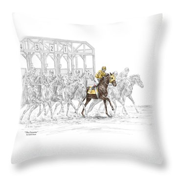 The Favorite - Thoroughbred Race Print Color Tinted Throw Pillow