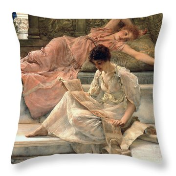 The Favourite Poet Throw Pillow by Sir Lawrence Alma-Tadema
