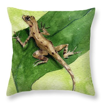 Throw Pillow featuring the painting The Feckless Gecko by Kris Parins
