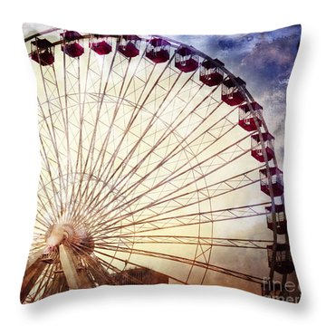 The Ferris Wheel At Navy Pier Throw Pillow by Mary Machare