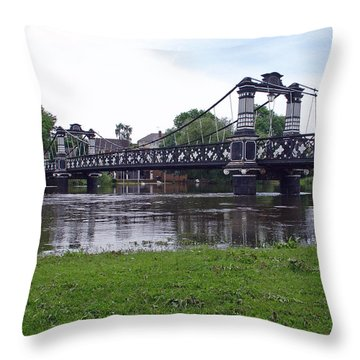 The Ferry Bridge Throw Pillow by Rod Johnson