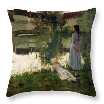 The Ferry Throw Pillow by William Stott