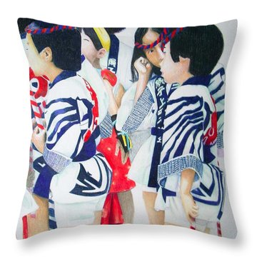 The Festival Gathering Throw Pillow by Tim Ernst