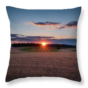 Throw Pillow featuring the photograph The Fields At Sunset by Mark Dodd