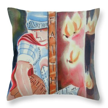 The Fiery Darts Of The Evil One 2 Throw Pillow by Kip DeVore