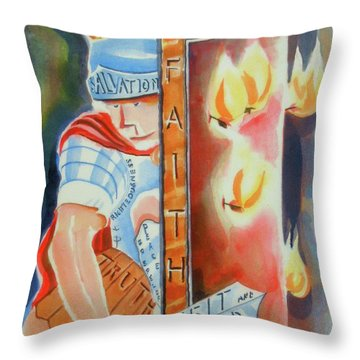 The Fiery Darts Of The Evil One 3 Throw Pillow by Kip DeVore
