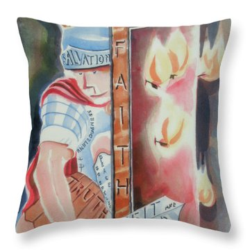 The Fiery Darts Of The Evil One Throw Pillow by Kip DeVore