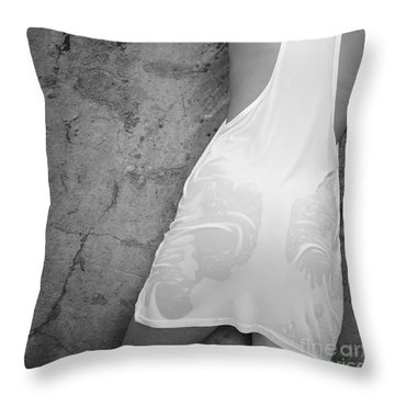 Throw Pillow featuring the photograph The Figure Of A Young Girl In A Wet Dress. by Andrey  Godyaykin