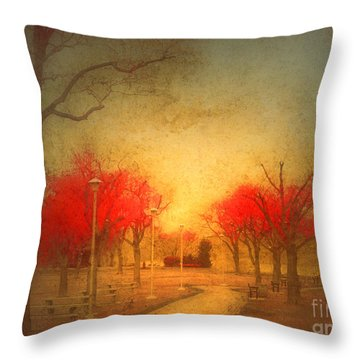 The Fire Trees Throw Pillow