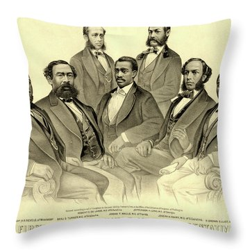 The First African American Senator And Representatives Throw Pillow