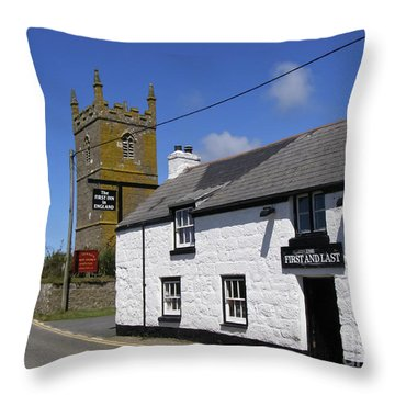 The First And Last Inn In England Throw Pillow by Terri Waters