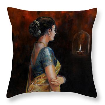 The First Diwali Throw Pillow