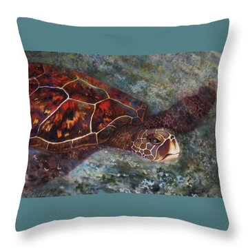 The First Honu Throw Pillow by Kerri Ligatich