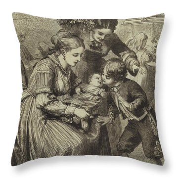 The First Kiss Under The Mistletoe Throw Pillow