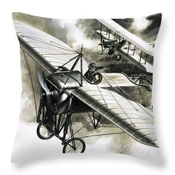 The First Reconnaissance Flight By The Rfc Throw Pillow by Wilf Hardy