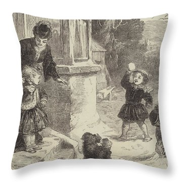 The First Snowball Throw Pillow