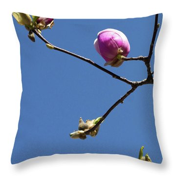 The First To Bloom Throw Pillow