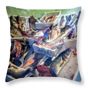 The Fish Market Throw Pillow