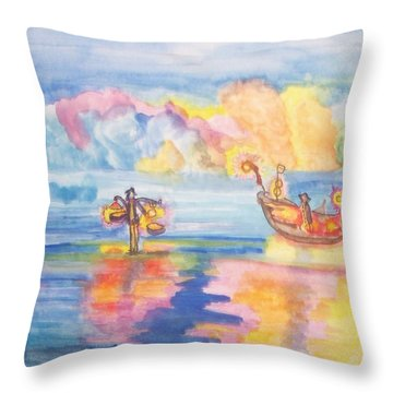 Throw Pillow featuring the painting The Fishermen Come Home by Connie Valasco