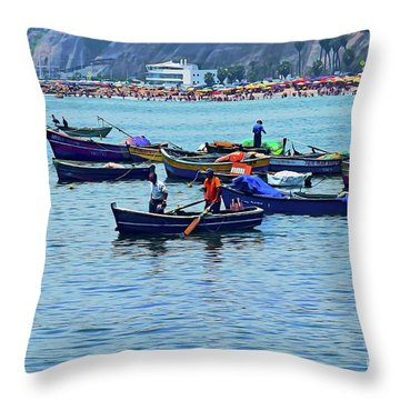 Throw Pillow featuring the photograph The Fishermen - Miraflores, Peru by Mary Machare