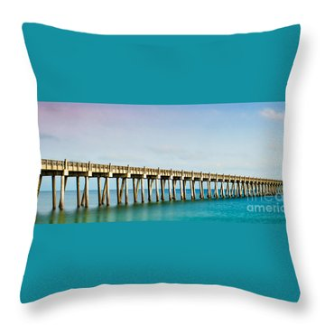 The Fishing Pier Throw Pillow