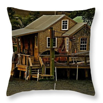 Throw Pillow featuring the photograph The Fishing Shack by John Harding