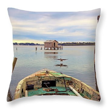 The Fishing Shack Throw Pillow
