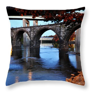 The Five Bridges - East Falls - Philadelphia Throw Pillow by Bill Cannon