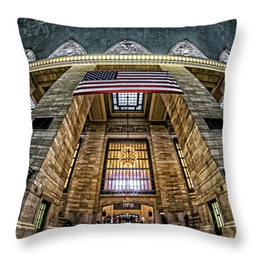 Throw Pillow featuring the photograph The Flag At Grand Central Station by Rafael Quirindongo
