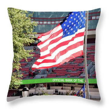 Throw Pillow featuring the photograph The Flag Flying High Over Sanford Stadium by Parker Cunningham