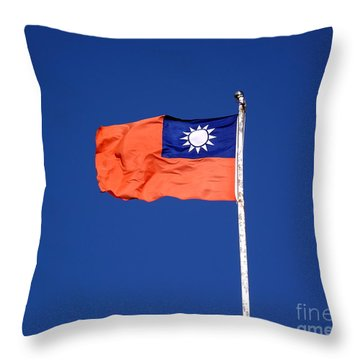 Throw Pillow featuring the photograph The Flag Of Taiwan by Yali Shi