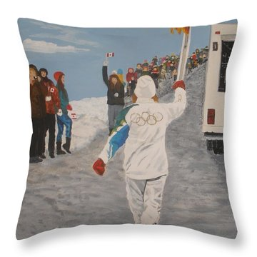 Throw Pillow featuring the painting the Flame by Betty-Anne McDonald