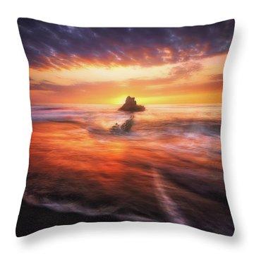 The Flaming Rock Throw Pillow