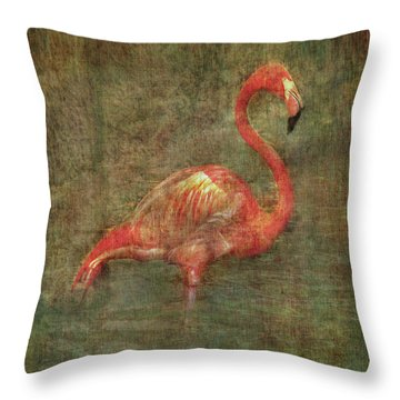 Throw Pillow featuring the photograph The Flamingo by Hanny Heim