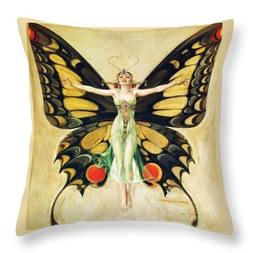 The Flapper Throw Pillow by Pg Reproductions