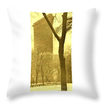 Throw Pillow featuring the photograph The Flat Iron Building 1903 Alfred Stieglitz by Peter Gumaer Ogden