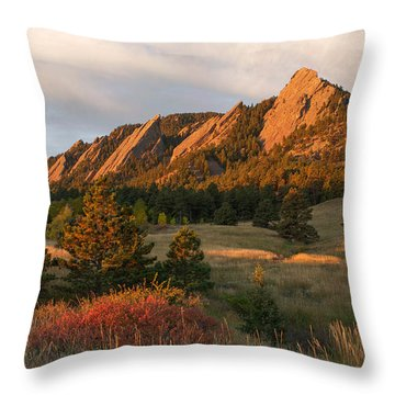 The Flatirons - Autumn Throw Pillow by Aaron Spong