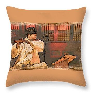 The Flautist Throw Pillow