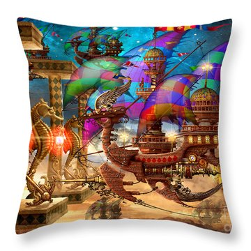 The Fleet Has Arrived Throw Pillow by Ciro Marchetti
