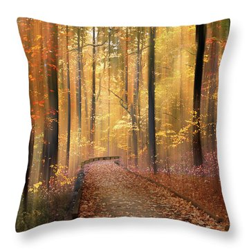 Throw Pillow featuring the photograph The Flickering Forest by Jessica Jenney