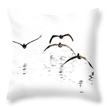 The Flight Of The Pelicans  Throw Pillow