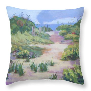 The Flip-flop Path To Paradise Throw Pillow by Carol Strickland