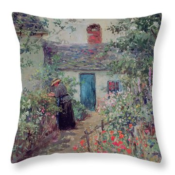 The Flower Garden Throw Pillow by Abbott Fuller Graves